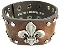 Brown Leather Rhinestone Studded Fleur De Lis Wristband