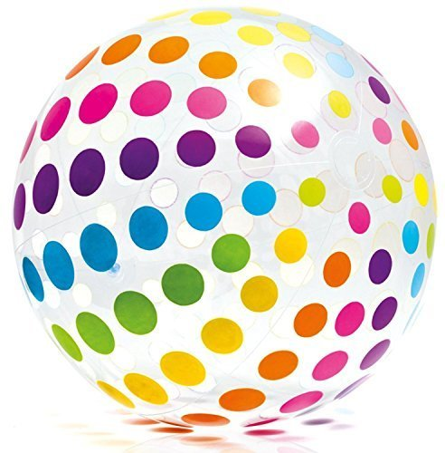 "Intex Jumbo Inflatable 42"" Giant Beach Ball - Crystal Clear with Translucent Dots - #59065EP / 2016"