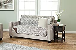 Luxe Collection Deluxe Reversible Quilted Furniture Protector. Beautiful Print on One Side / Solid Color on the Other for Two Fresh Looks. By Home Fashion Designs. (Sofa, Chocolate)