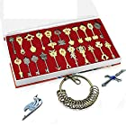 Rulercosplay Fairy Tail Lucy New Collection Set of 22 Golden Zodiac Keys + Chain