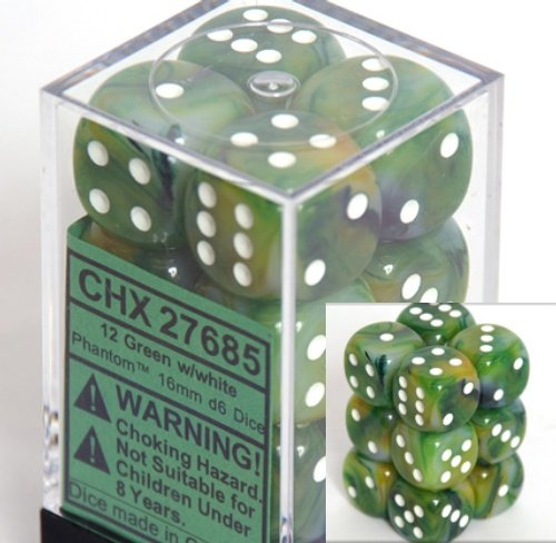 Chessex Dice d6 Sets: Phantom Green with White - 16mm Six Sided Die (12) Block of Dice - 1