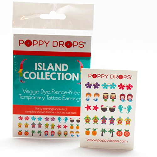 Island Collection - Veggie-Based Temporary Tattoo Earrings. Safe, Non-Toxic Ear Piercing Alternative. - 1