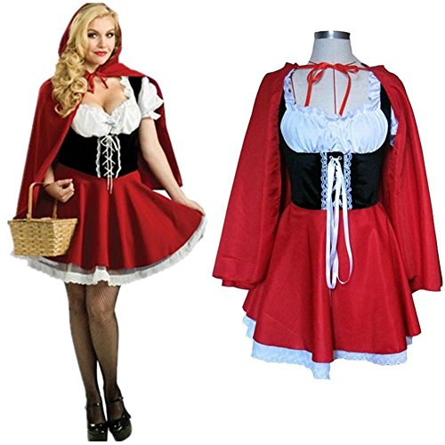 [NEW! Ladies Little Red Riding Hood Halloween Costume Party Cosplay Fancy Dress (S, Red)] (Wolf Costume Halloween Express)