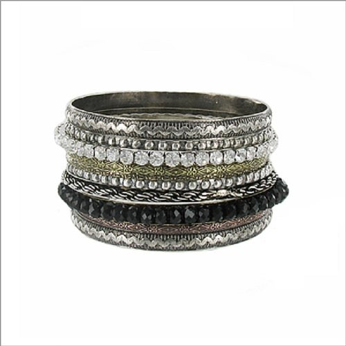 JOA Stackable W Bead Accent Bangle Bracelet #040491