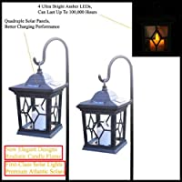 4-Pack Venetian Bronze Hanging Candle Solar Lights With Amber LEDs and Metal Hanging Cane