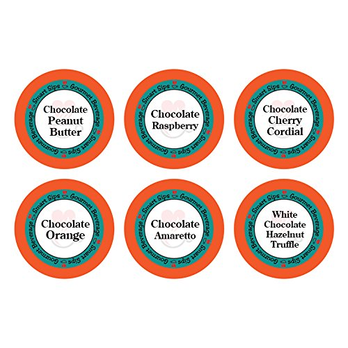 Smart Sips, Chocolate Obsession Variety Sampler Pack, 24 Count for Keurig K-cup Brewers - Chocolate Cherry Cordial, Chocolate Peanut Butter, Chocolate Amaretto, Chocolate Raspberry, White Chocolate Hazelnut Truffle, Chocolate Orange (Keurig Tim Hortons Hot Chocolate compare prices)