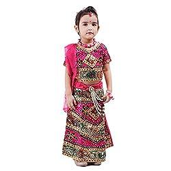 RTD Rajasthani Ethnic Fashion Pink Lehenga Choli Dupatta Set for Girls
