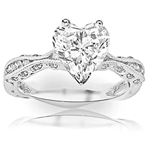 1 Carat Heart Cut / Shape 14K White Gold Channel Set Eternity Curving Diamond Engagement Ring ( H-I Color , SI1 Clarity )
