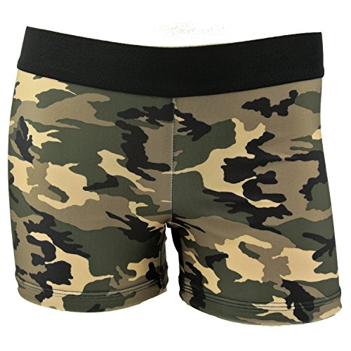 Womens 3 Inch Spandex Compression Shorts (Green Camo, Medium) Green Camouflage Shorts