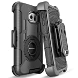 S6 Edge Case, Galaxy S6 Edge Case, BENTOBEN Shockproof Heavy Duty Protection Hybrid Rugged Rubber Case Built-in Rotating Kickstand Belt Swivel Clip Holster Cover for Galaxy S6 Edge/SM-G925 (Black)