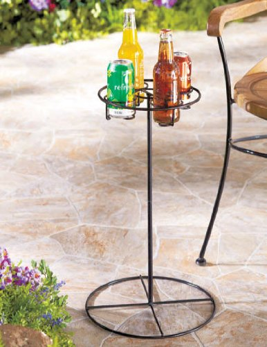 Patio Furniture Metal 4 Beverage Drink Holder Table in Black - Great for Camping