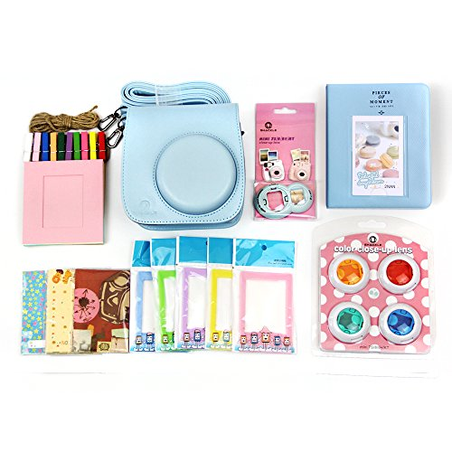 7 in 1 Fujifilm Instax Mini 8 Accessories Bundles (Instax Mini 8 Case/ Mini Album/ Close-up Selfie Lens/colors Close-up Lens/ Wall Hang Frames/film Frame/ Film Stickers) by Shackle - Blue