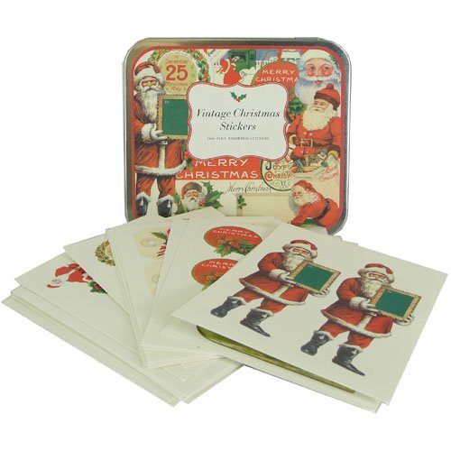 Cavallini Vintage Christmas Sticker Assortment in Keepsake Tin