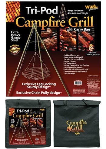 Campfire Tri-Pod Grill (Adjustable Height & Quick Setup)