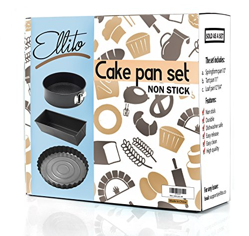 Cake Pan Set - Spring Form Pan With Removable Bottom, Tart Pan & Loaf Pan - Round & Rectangular Cake Pans- Dishwasher Safe and Nonstick- gift box - By Ellito (Deep Dish Tart Pan compare prices)