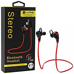 iKare Wireless Headphones G6 V4.1 Bluetooth Stereo In-Ear Noise Cancelling Sweatproof Headphones with Microphone (Red)