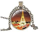 Luck Wang Woman's Unique Fashion Eiffel Tower In Paris Retro Romantic Time Gemstone Pendant Necklace£¨2#£©