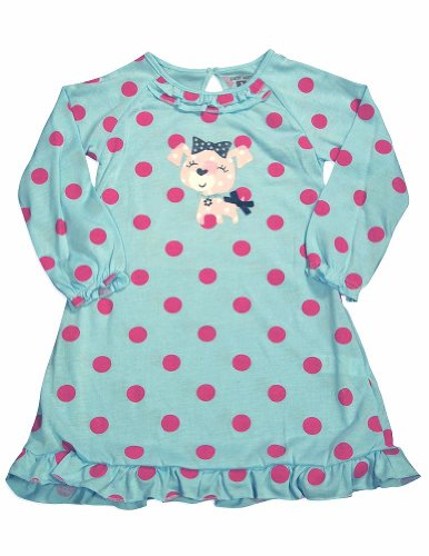 Petit Lem - Little Girls'S Long Sleeve Polka Dot Dog Nightgown, Aqua, Fuchsia 30297-6X front-12728