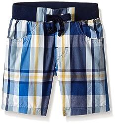 Petit Lem Little Boys' Woven Shorts - Deep Sea Life, J Blue Plaid, 2T