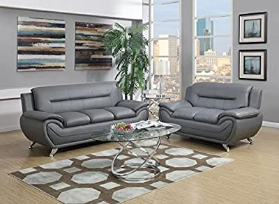 GTU Furniture Contemporary Bonded Leather Sofa & Loveseat Set, 2 Piece Sofa Set