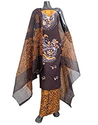 GiftPiper Cotton Batik Print Salwar Suit-Dark Brown