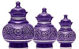 Deep Violet Engraved Series Pet Urn (Small, Silver Engraving)