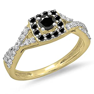 0.75 Carat (ctw) 14K Yellow Gold Black & White Diamond Swirl Halo Engagement Ring 3/4 CT (Size 9.5)