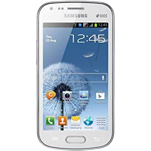 "Samsung Galaxy S DUOS S7562 Unlocked GSM Phone with Dual SIM, Android 4.0 OS, 4"" Touchscreen, 5MP Camera + Seconday VGA Camera, Video, GPS, Wi-Fi, Bluetooth, Stereo FM Radio, MP3/MP4 Player and microSD Slot - White from Samsung"