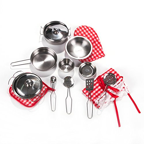 Toyerbee Pretend Play Toys - Kitchen Toys 16 Pcs Stainless Cookware Set for Young Chef Toy Pans and Pots with Cooking Utensils for Kids (Childrens Play Cookware compare prices)