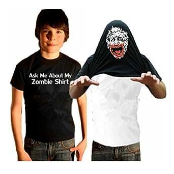 Kids Zombie Costume Shirt - Ask Me About My Zombie Shirt Youth T-Shirt #55 / #1337 (Kids X-Small (2-4), Black)