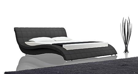 SAM® Designer Polsterbett Queens, Liegefläche 160x200 cm, Farbe schwarz, Bett im abgesteppten Design, Gästebett mit geschwungenem Seitenteil, stilvolle Chrom-Fuße