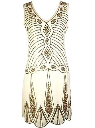 1920s Embellished Gatsby Art Deco Sequin Flapper Dress: Amazon Fashion