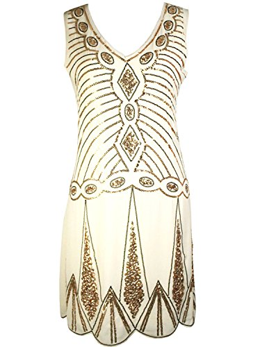 Vijiv-Womens-V-Neck-1920s-Embellished-Gatsby-Art-Deco-Sequin-Flapper-Dress