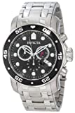 Invicta Pro Diver Men's Quartz Watch with Black Dial Chronograph Display and Silver Stainless Steel Bracelet in Stainless Steel Case 0069