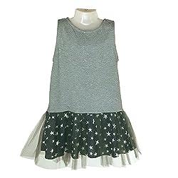 Aummade Girl's tulle dress, bi fabric grey stars, 4-5 years