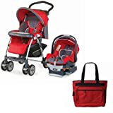 Chicco Cortina Keyfit 30 Travel System with Fashionable Diaper Bag, Fuego