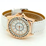 Conbays White Classic Round Dial Crystal Girl Lady Leather Quartz Wrist Watch Women Gift Luxury