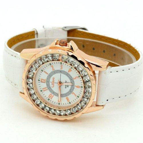 Conbays White Classic Round Dial Crystal Girl Lady Leather Quartz Wrist Watch Women Gift Luxury