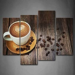 Canval prit painting Brown Coffee With Heart Pattern In White Cup The Picture Print On Canvas Food Pictures