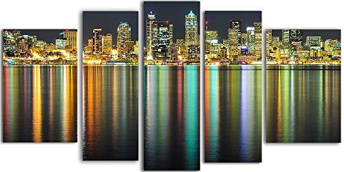 Startonight Glass Wall Art Acrylic Decor Great American Cities, 5 Stars Gift and a Contemporary Clock Set of 5 Total 35.43 X 70.87 Inch the Ultimate Wall (Halloween Decor Hobby Lobby)