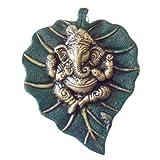 Ganesh On Leaf, Gold Colour ganesh on Green Leaf by IndiaDeals4U