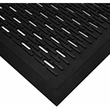 "Wearwell Natural Rubber 224 UpFront Scraper Grease Resistant Mat, Slotted, for Outdoor Entrances, 3' Width x 5' Length x 5/16"" Thickness, Black"