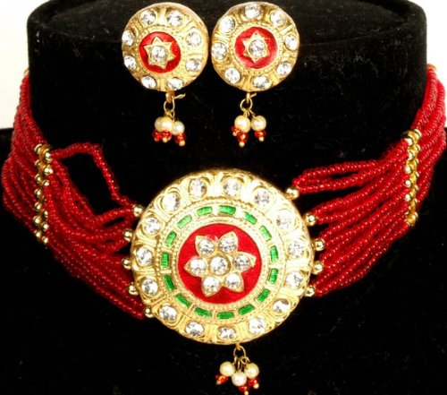 Red and Golden Solar Necklace and Earrings Set with Beads - Lacquer with Cut Glass