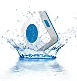 AquaAudio Cube - Mini Ultra Portable Waterproof Bluetooth Wireless Stereo Speakers with Suction Cup for Showers Bathroom Pool Boat Car Beach Outdoor etc.   For All Devices with Bluetooth Capability + Siri Compatible - 6 Hours Playtime / with Built-in Mic for use as a Powerful Handsfree Speakerphone (Blue)