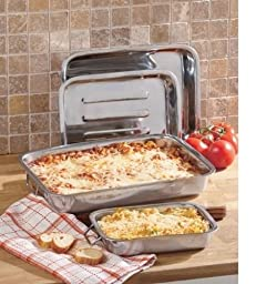 4 Four Pc Piece Set of Stainless Steels Lasagna Baking Pans Dishes Kitchen NEW