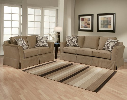Buy Low Price Benchley 2pc Sofa Loveseat Set with Pleated Skirt Design in Taupe Stone (VF_BCL-ELEGANCE)
