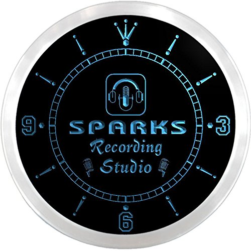 Ncqm1464-B Sparks Recording Studio On Air Microphone Bar Beer Led Neon Sign Wall Clock
