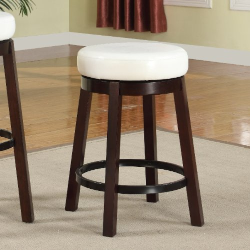 Roundhill Furniture Wooden Swivel Barstools, Counter Height, Snow White, Set of 2