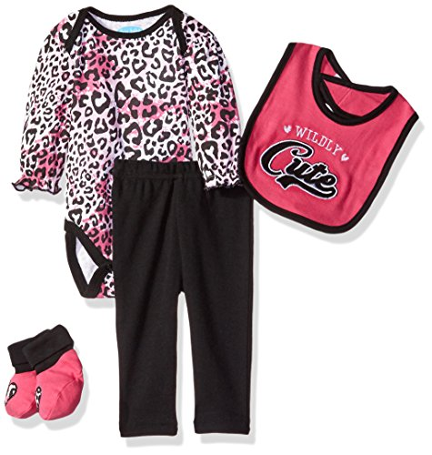 BON BEBE Girls' 4 Piece Pant Set with Booties and Bib Bodysuit, Wild Hot Pink, 0-3 Months