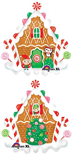 "one 35"" GINGERBREAD house BALLOON new FOIL christmas PARTY candy"
